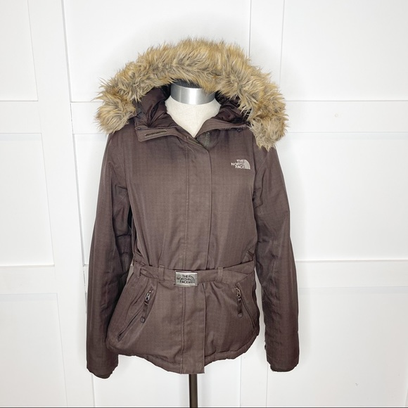 North Face Fur Greenland Belted Puffer Down Jacket